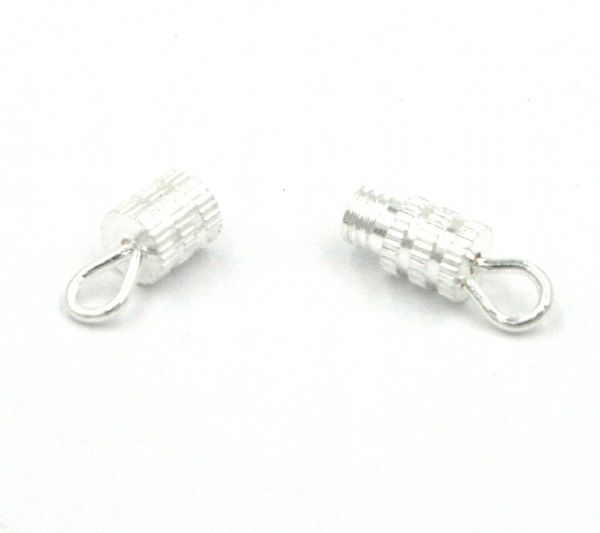 8pcs 4x15mm Silver plated Screw in barrel clasp 15-K010203